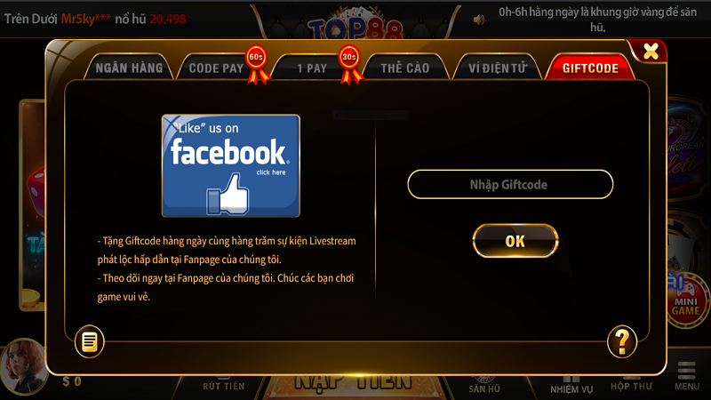 Nhanh tay nạp giftcode tại game online Top88